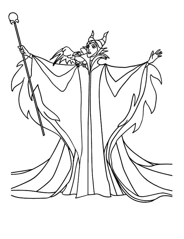 Maleficent Coloring Pages With The Magic Wand