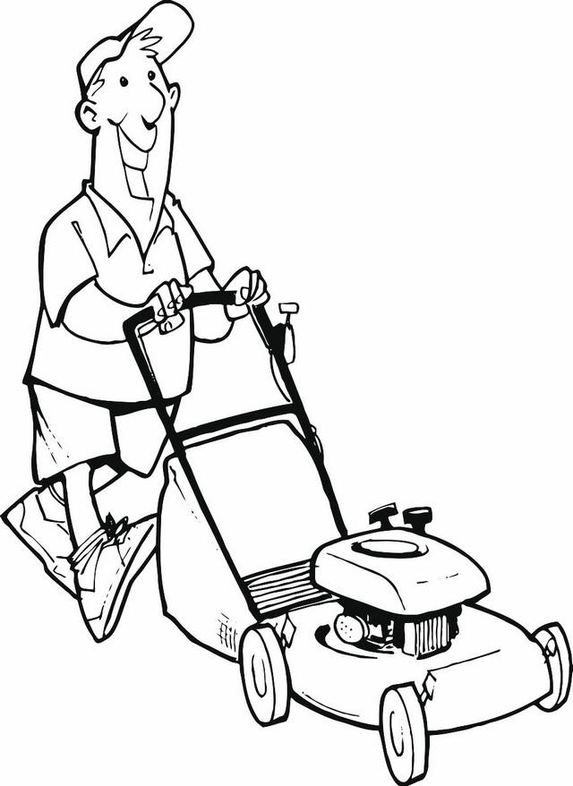 Man Operating A Lawn Mower Coloring And Drawing Pages