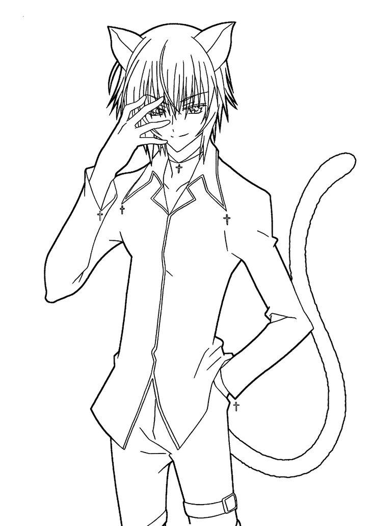 Manga Coloring Pages Cat Boy