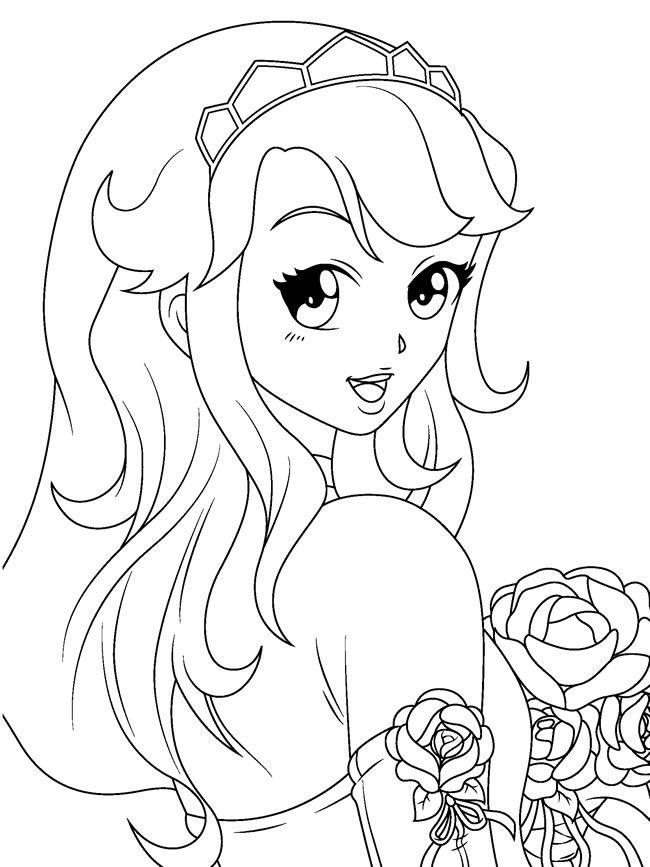 Manga Coloring Pages Girl With Rose