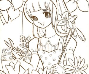 Manga coloring pages in flower garden