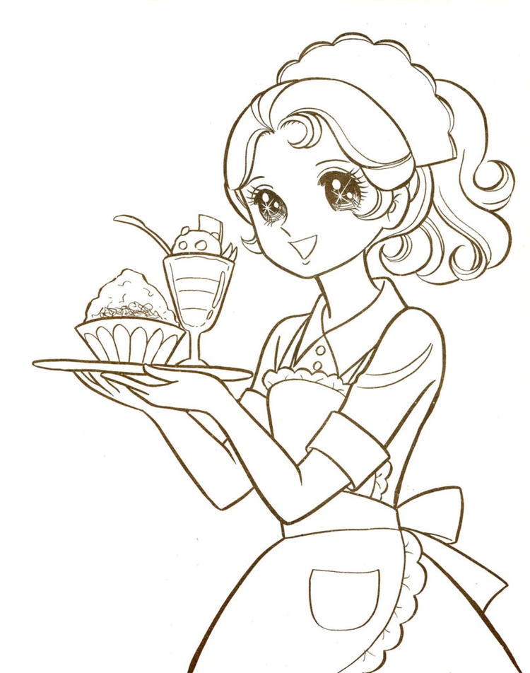 Manga Coloring Pages Waitress