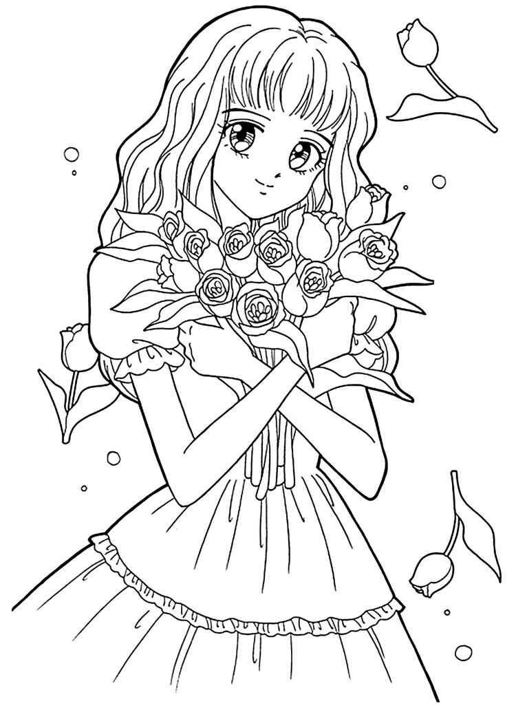 Manga Coloring Pages With Flowers