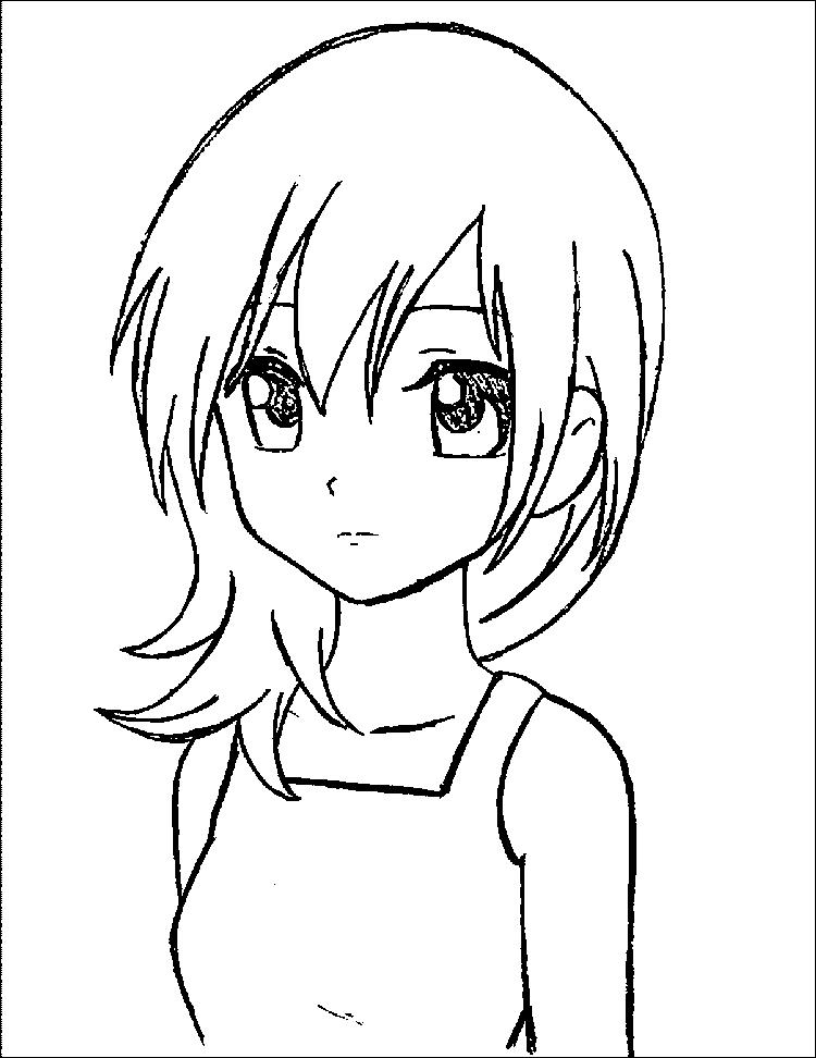 Manga Girl Coloring Pages For Kids
