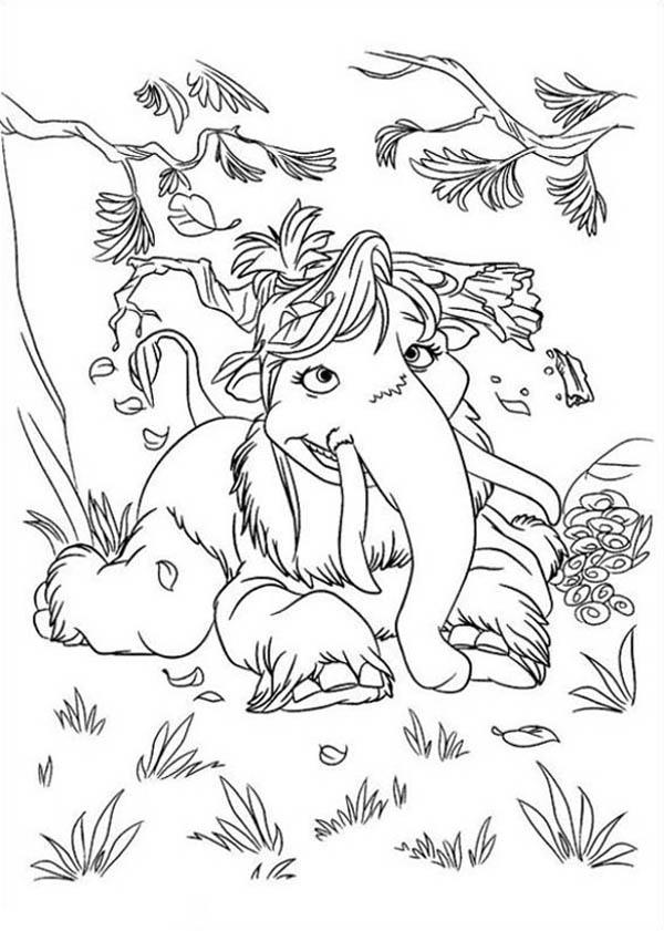 Mannie And Ellie Daughter Peaches From Ice Age Coloring Pages