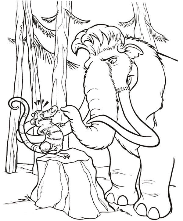 Mannie Talk To Eddie In Ice Age Coloring Pages