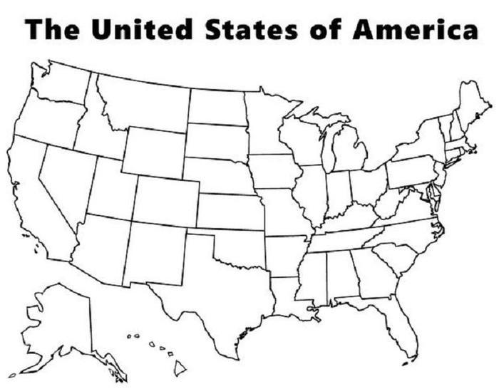 Map Of The Usa Coloring Pages