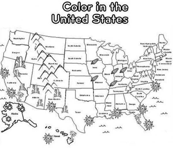 Maps Coloring Pages Usa