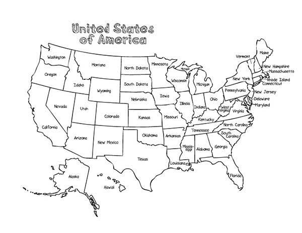 Maps Of United States Of America Coloring Pages