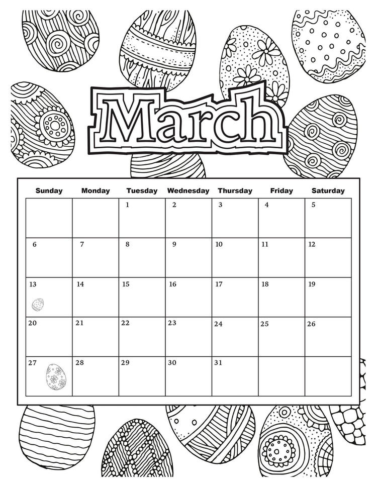 March Calendar Easter Egg Theme Coloring Page