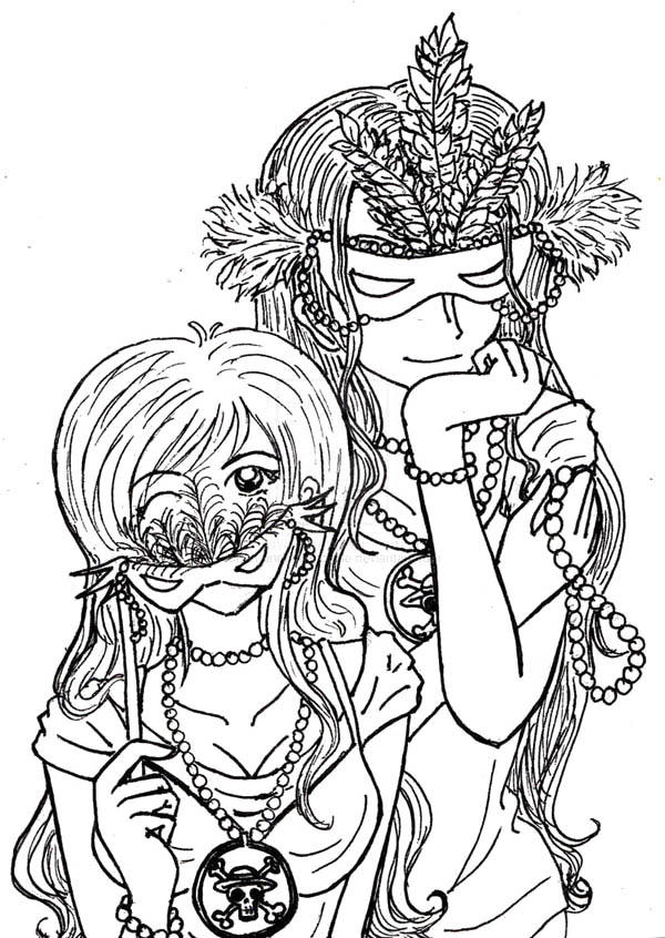 Mardi Gras Coloring Pages Anime