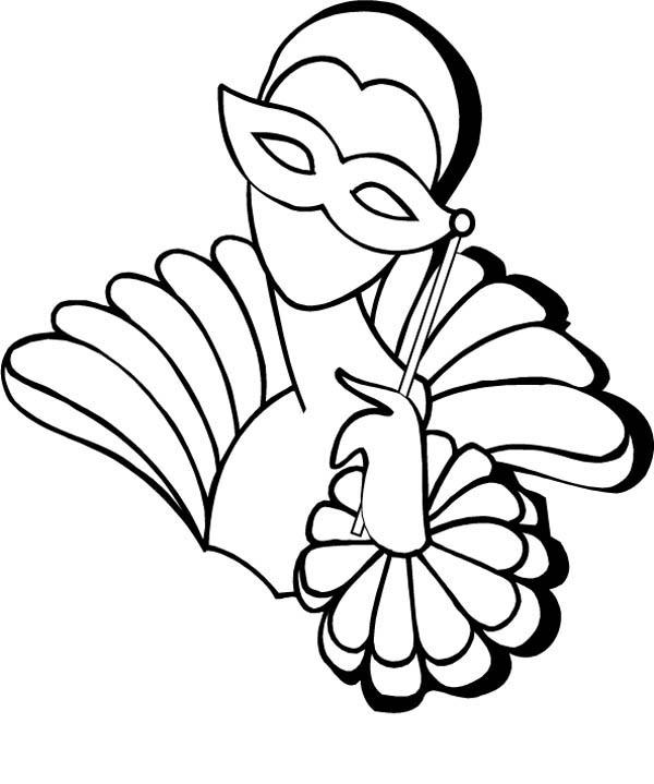 Mardi Gras Coloring Pages Masked Girl
