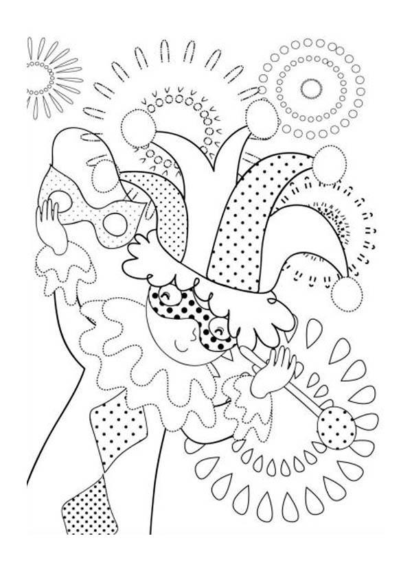 Mardi Gras Jester Coloring Pages