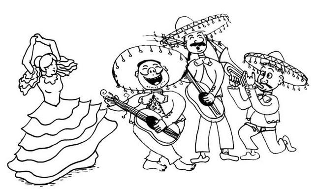 Mariachi Dancer Coloring Page