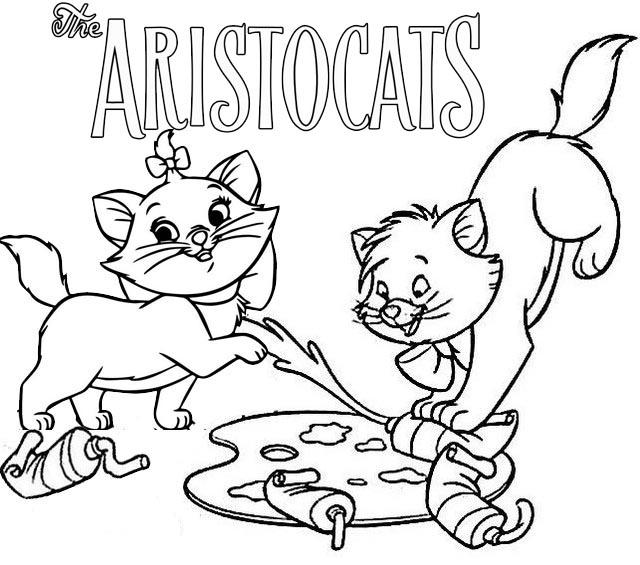 Marie And Toulouse Aristocats Coloring Page For Kids
