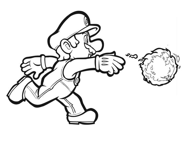 Mario Coloring Pages Throwing Fireball
