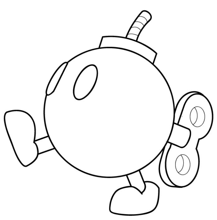 Mario Kart Bomb Omb Coloring Page