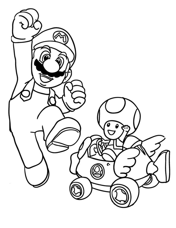 Mario Kart Coloring Pages Mario And Toad