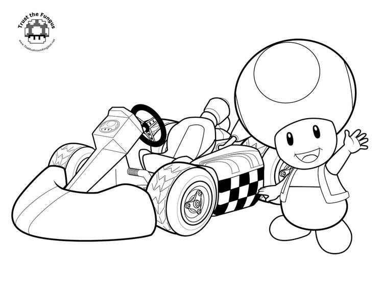 Mario Kart Coloring Pages Toad
