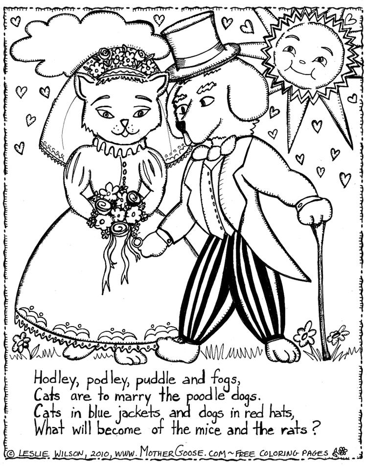 Married Dog And Cat Coloring Pages
