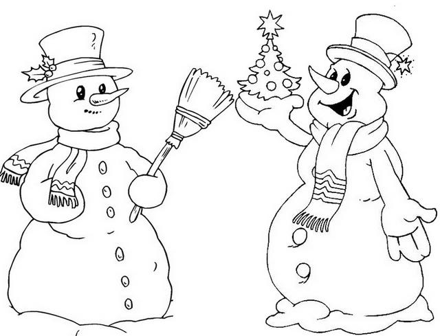 Marshmallow Snowman Coloring Page