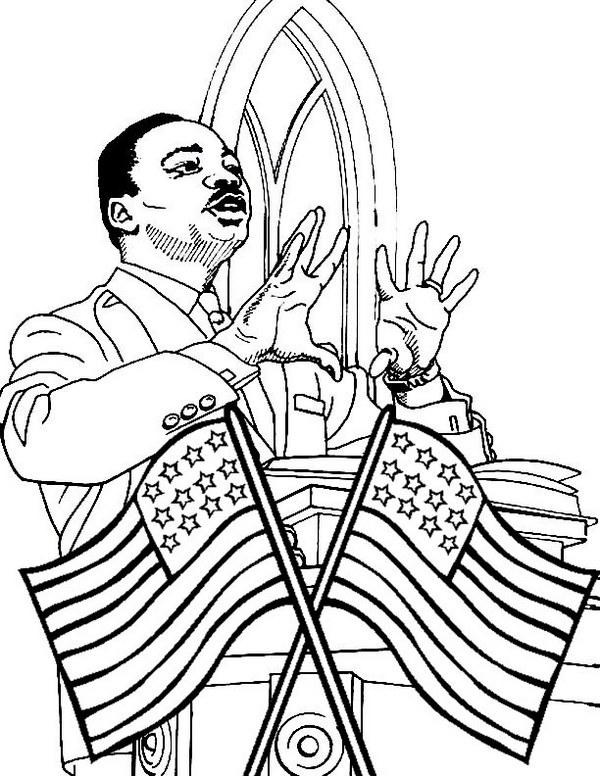 Martin Luther King Jr Speech Coloring Page