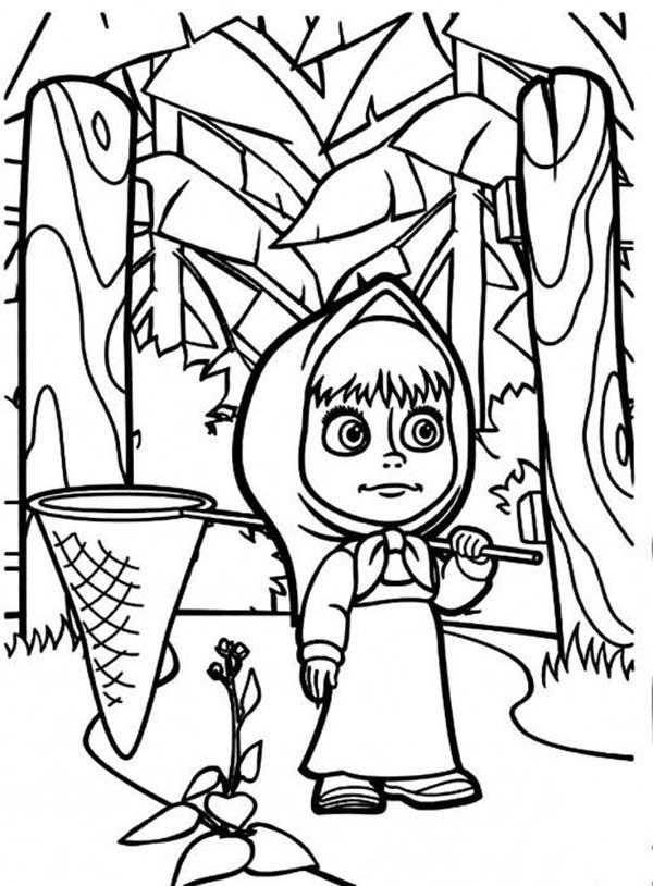 Mascha And Bear Coloring Pages In The Jungle Want To Catch Butterfly