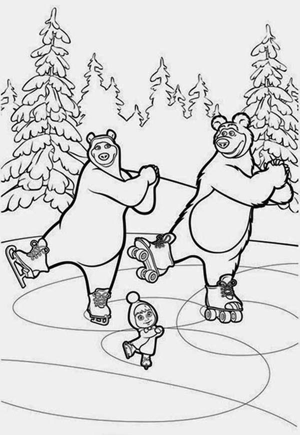 Mascha And Bear Dancing On Ice In Coloring Pages