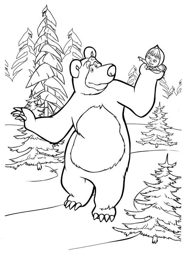 Mascha And Bear Holding Mascha In His Hand Coloring Pages