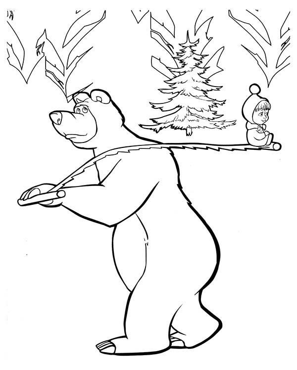 Mascha And Bear Looking For Christmas Tree Coloring Pages