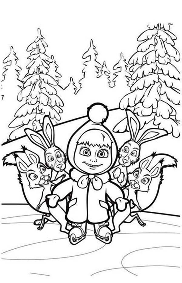 Mascha And Friends In Mascha And Bear Coloring Pages