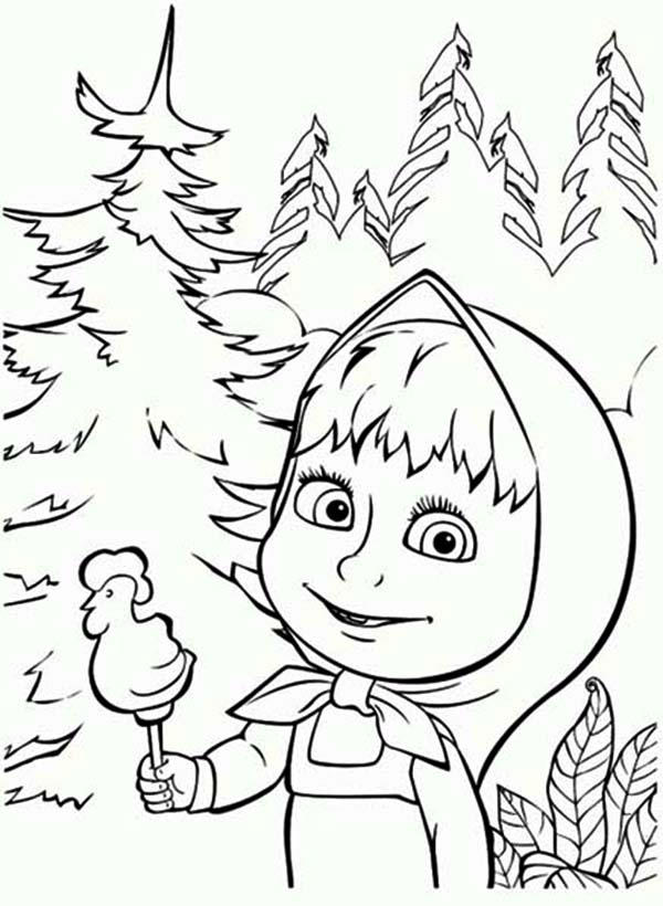 Mascha Eat Candy Chicken Shaped Mascha And Bear Coloring Pages
