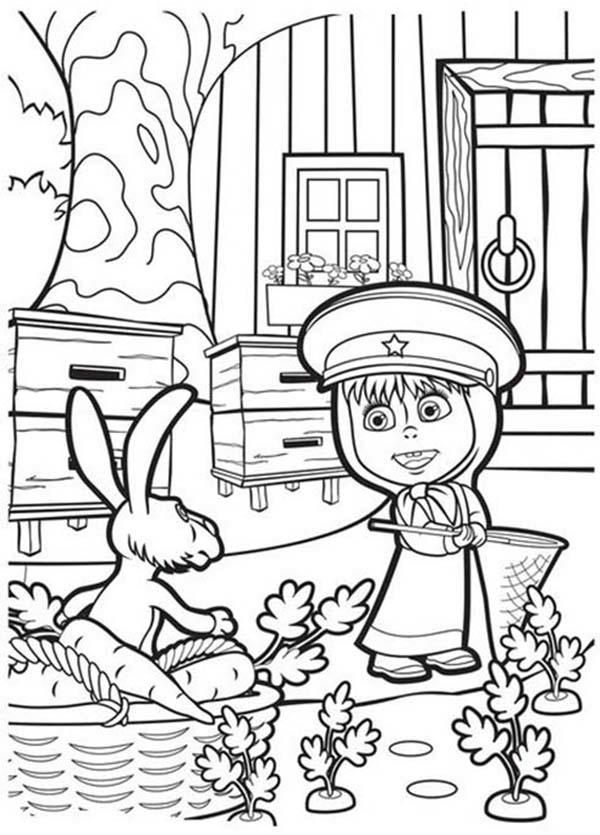 Mascha Help Rabbit Picking Carrot In Mascha And Bear Coloring Pages