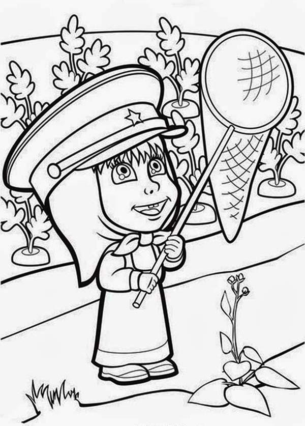 Mascha Holding A Net In Mascha And Bear Coloring Pages