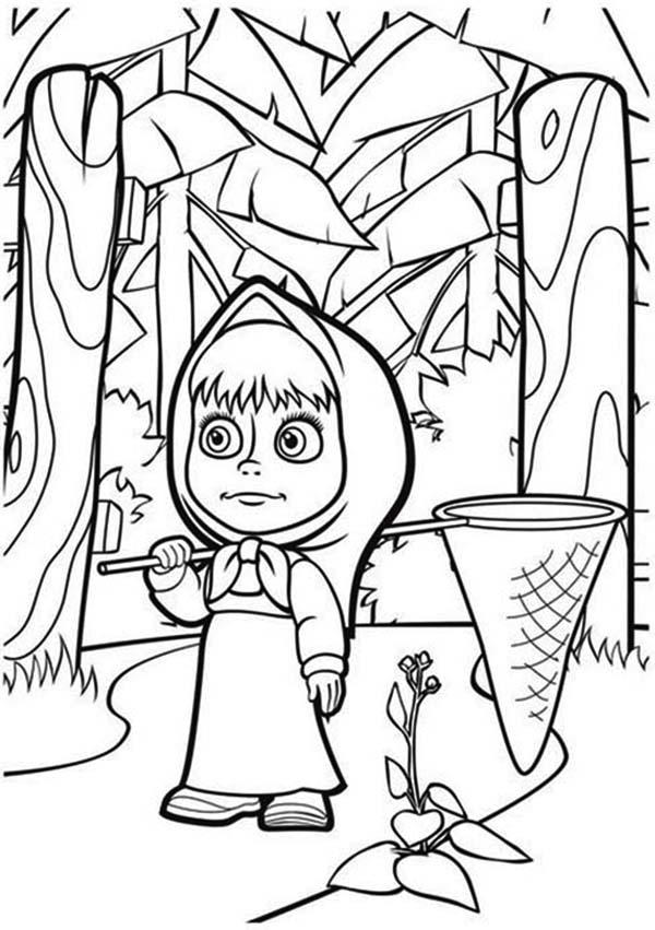 Mascha Lost In The Wood In Mascha And Bear Coloring Pages
