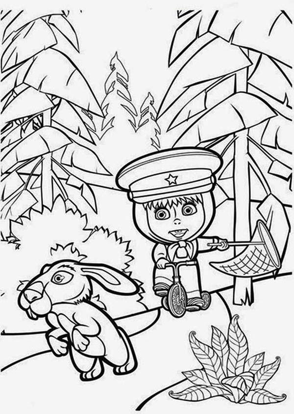 Mascha Playing With Rabbit In Mascha And Bear Coloring Pages