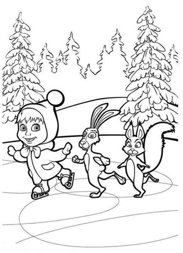 Mascha Skating With Rabbit And Squirrel In Mascha And Bear Coloring Pages