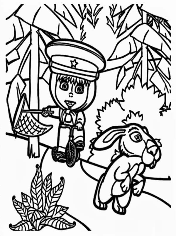 Mascha Trying To Catch Rabbit In Mascha And Bear Coloring Pages