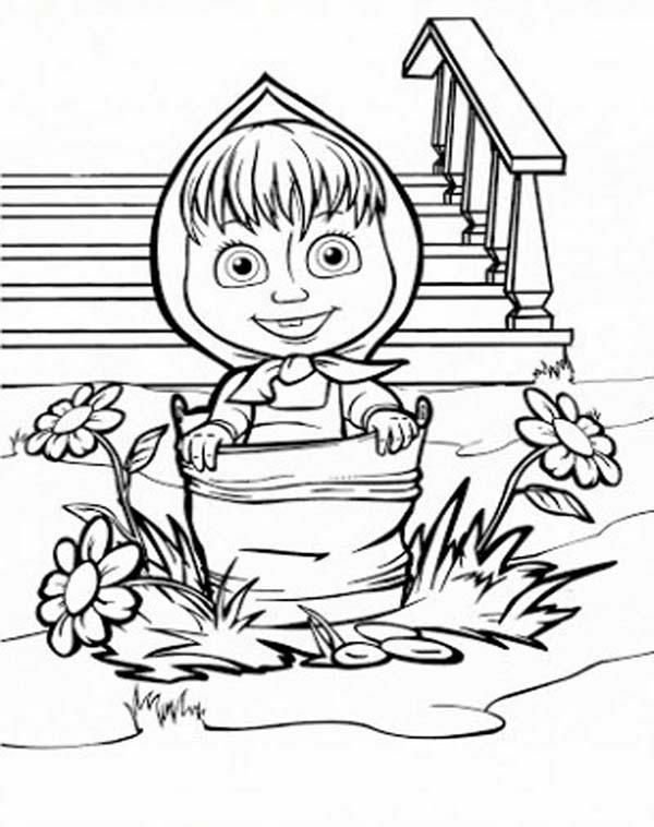 Mascha Walking With Bucket In Mascha And Bear Coloring Pages