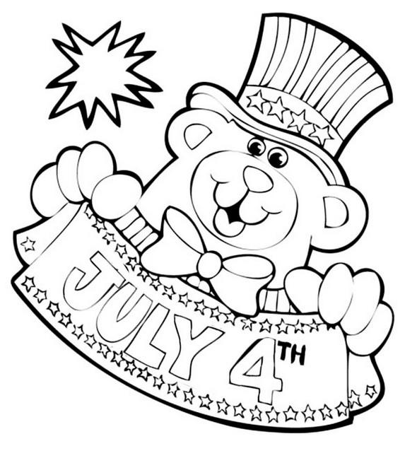 Mascot Of 4th July Coloring Page