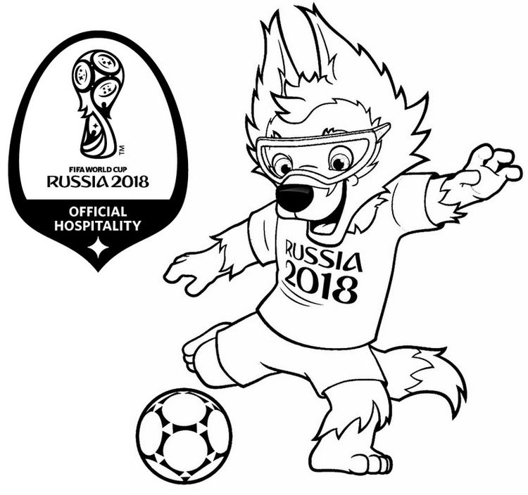 Mascot World Cup Russia 2018 Coloring Page
