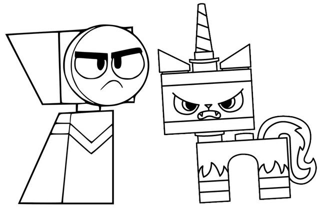 Master Frown And Angry Unikitty Coloring Page
