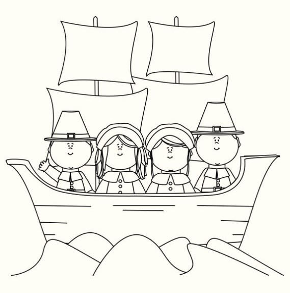 Mayflower Ship To The New World Thanksgiving Coloring Pages