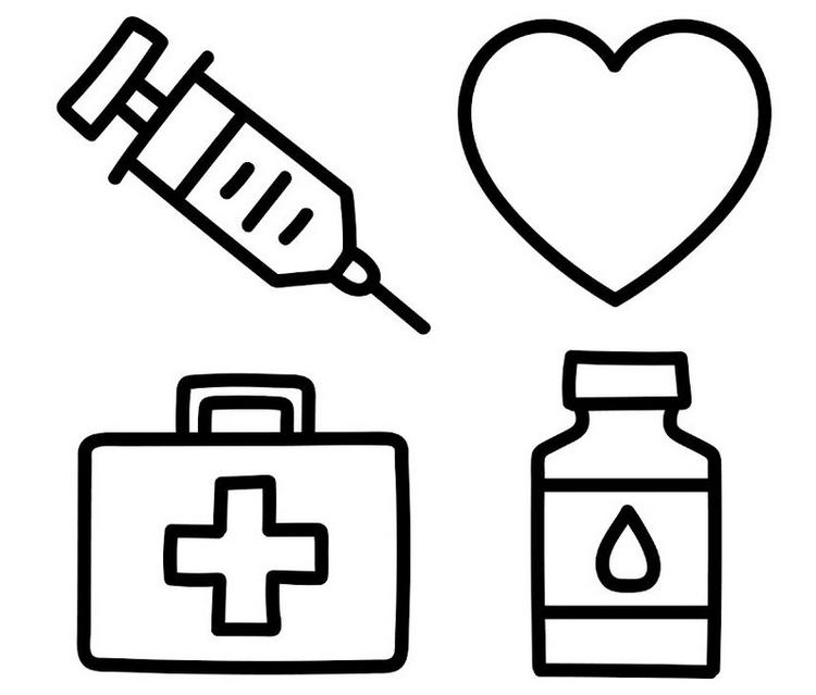Medical Tools Coloring Sheets For Children