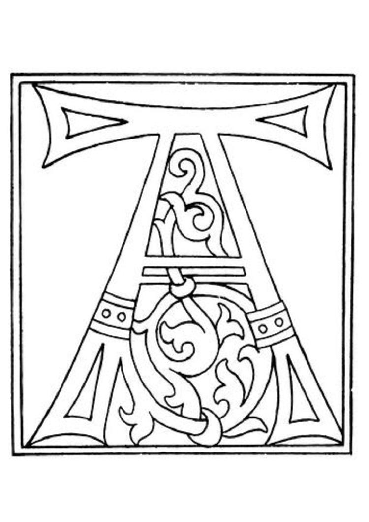 Medieval Alphabet Coloring Pages