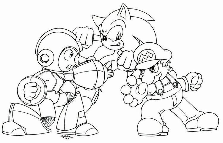 Megaman Vs Sonic Vs Mario Coloring Picture To Print