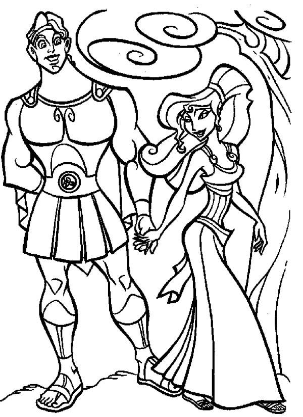 Megara Take Hercules For A Walk Coloring Pages