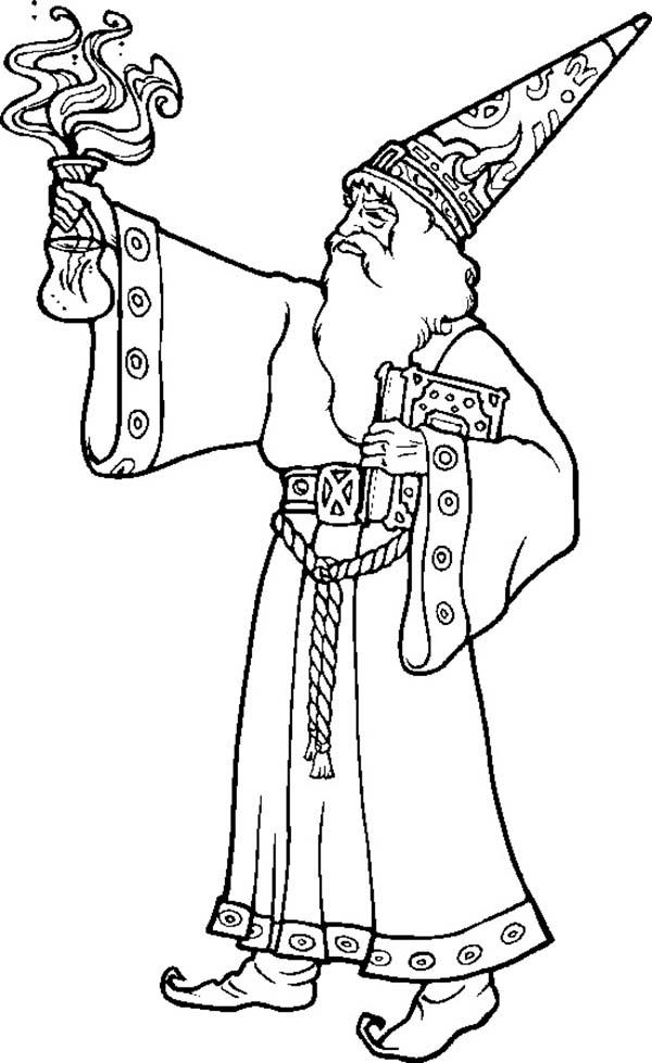 Merlin The Wizard Bring Magic Potion Coloring Pages