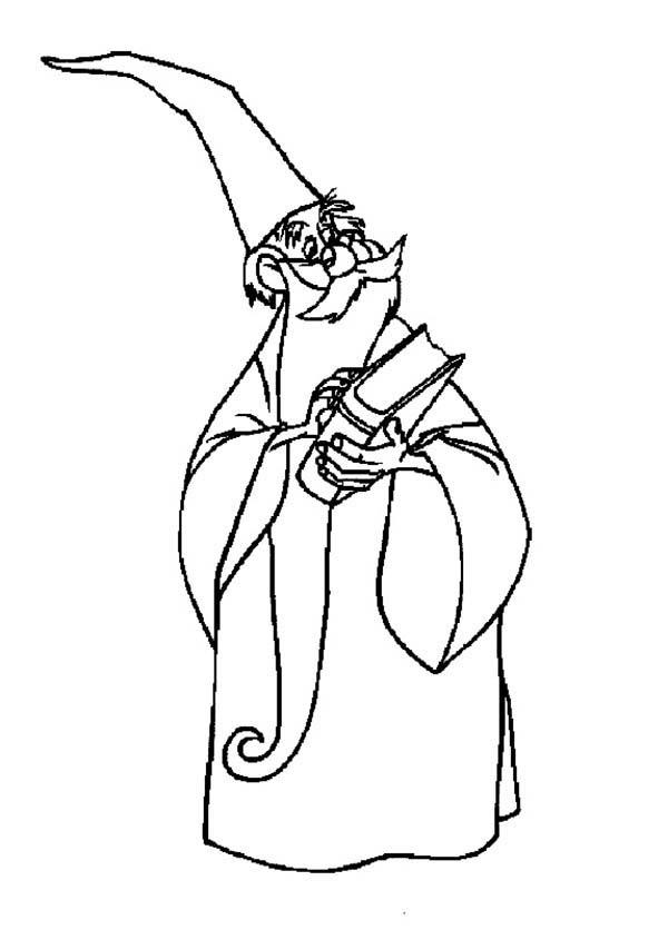 Merlin The Wizard Holding Book Of Magic Spell Coloring Pages