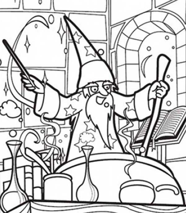 Merlin The Wizard Making Magic Potion Coloring Pages